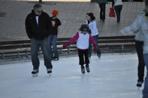 Father daughter bonding on the ice