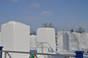 Blocks of snow ready for local's carving competition
