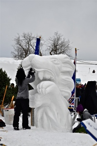 A local college student group competes in 2013 winter carnaval snow carving competition (one of my favorites!)